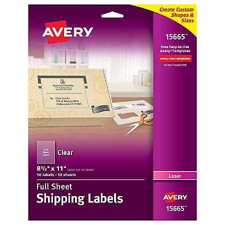 "Avery® Permanent Shipping Labels, 15565, 8 1/2"" x 11"", Clear, Pack Of 10"