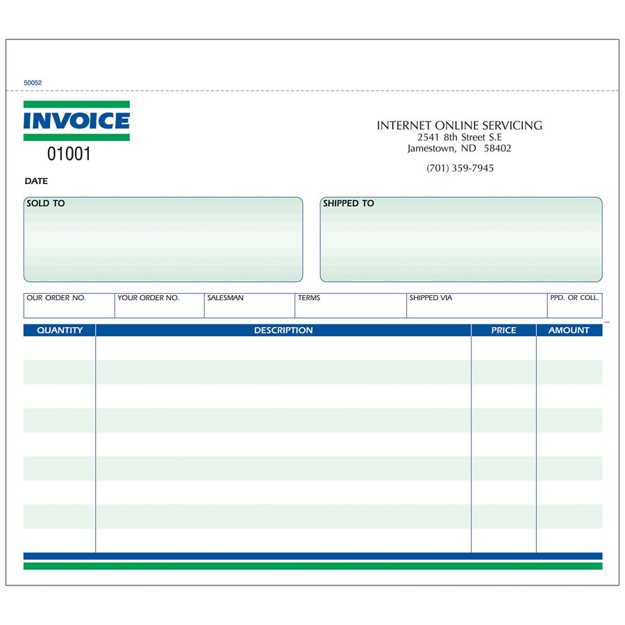 Invoice Forms Ruled 2 Part 8 12 x 7 Box Of 250 by Office Depot