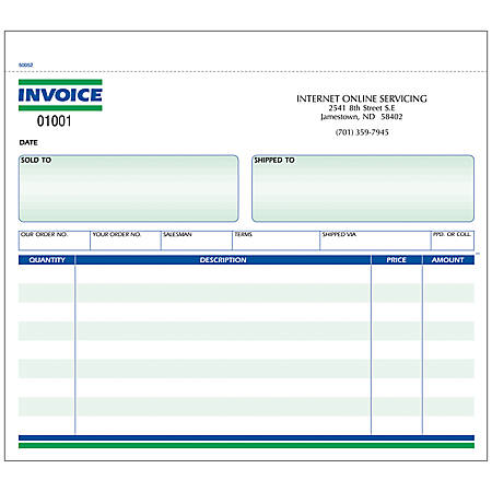 "Invoice Forms, Ruled, 2-Part, 8 1/2"" x 7"", Box Of 250"