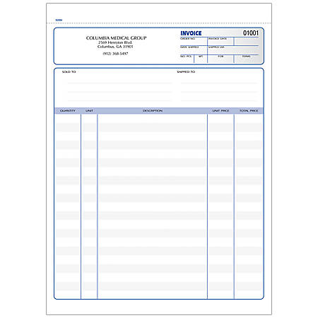 """Invoice Forms, Ruled, 3-Part, 8 1/2"""" x 11"""", Box Of 250"""