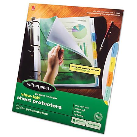 Wilson Jones® View-Tab® Sheet Protectors, 8-Tab, Multicolor
