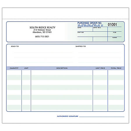 """Purchase Order Forms, Ruled, 2-Part, 8 1/2"""" x 7"""", Box Of 250"""