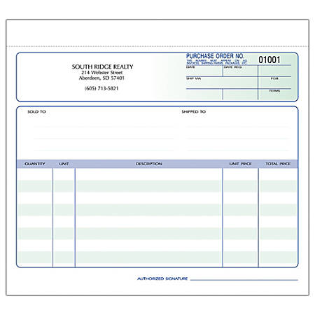 """Purchase Order Forms, Ruled, 3-Part, 8 1/2"""" x 7"""", Box Of 250"""