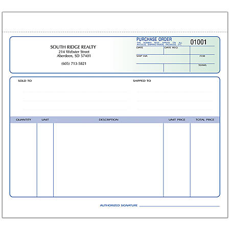 """Purchase Order Forms, Unruled, 3-Part, 8 1/2"""" x 7"""", Box Of 250"""