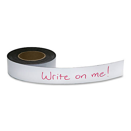 "Zeus Magnetic Labeling Tape - 2"" Width x 50 ft Length - Reusable, Repositionable - 1 / Roll - White"