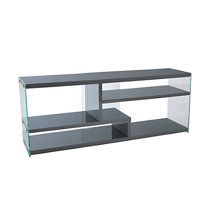 """Monarch Specialties TV Stand, Glass, For Flat-Screen TVs Up To 60"""", Glossy Gray"""