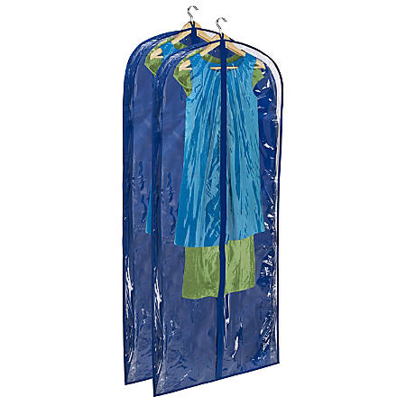 "Honey-Can-Do Hanging Garment Dress Storage Bags, 60""H x 24""W x 3""D, Navy, Pack Of 2"