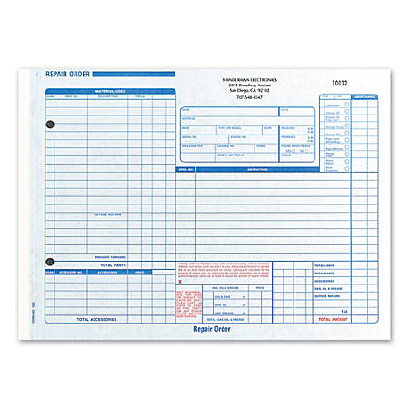 Custom carbon business forms pre formatted repair order forms 11 x.