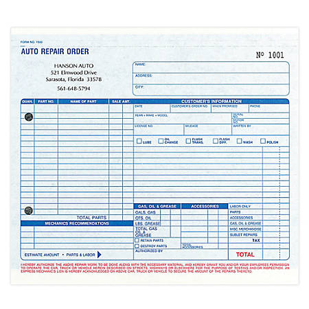 """Work-Order Forms, Auto Repair, With Carbon, 3-Part, 8 1/2"""" x 7"""", Box Of 250"""