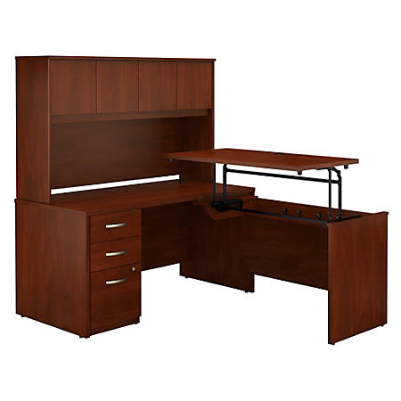 "Bush Business Furniture Components Elite 60""W 3 Position Sit to Stand L Shaped Desk with Hutch and 3 Drawer File Cabinet, Hansen Cherry, Premium Installationc"