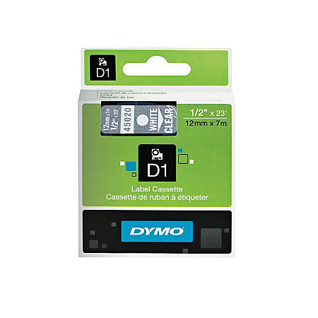 "DYMO® D1 Electronic Label Maker Tape, 0.5"" x 23', White Print/Clear Label"