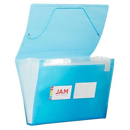 """JAM Paper® Letter Size Expanding File, 8"""" Expansion, 8-1/2"""" x 11"""", Blue"""