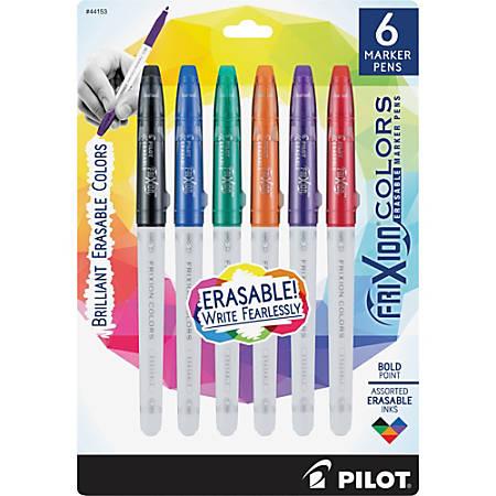 Pilot Frixion Colors Erasable Marker Pens Bold Pen Point 2 5 Mm Pen Point Size Black Blue Red Green Orange Purple White Barrel 6 Pack
