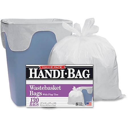 "Webster Handi-Bag Wastebasket Bags - 8 gal - 21.50"" Width x 24"" Length x 0.60 mil (15 Micron) Thickness - White - Hexene Resin - 780/Carton - 130 Per Box - Home, Office"
