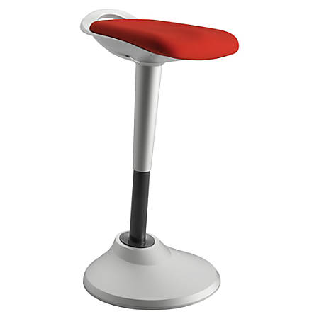 basyx by HON® Perch Hybrid Seating Chair/Stool, Red/Silver