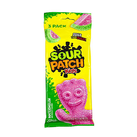 Sour Patch Kids Gum, Watermelon, 14 Pieces Per Pack, Bag Of 12 Packs