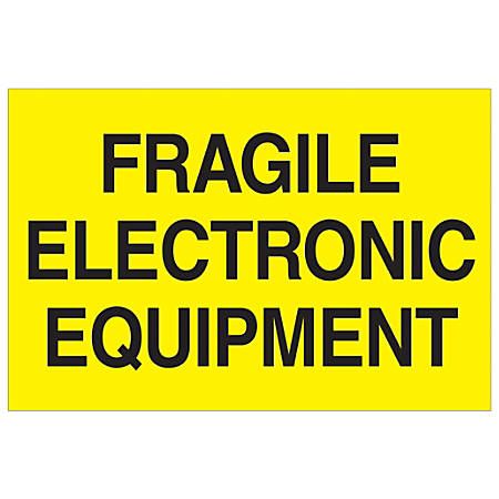 "Tape Logic® Preprinted Special Handling Labels, DL1193, Fragile Electronic Equipment, Rectangle, 2"" x 3"", Fluorescent Yellow, Roll Of 500"