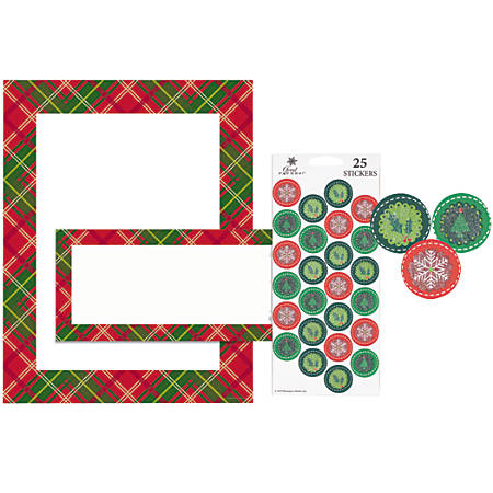 """Great Papers! Holiday Stationery Kit, 8 1/2"""" x 11"""", Country Plaid, Pack Of 25"""