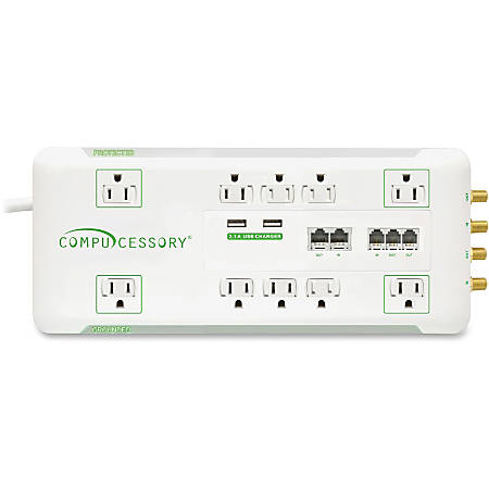 Compucessory Slim 10-Outlet Surge Protector, 6' Cord, White, CCS31900