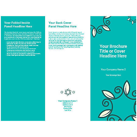 Customizable Trifold Brochure, Teal Floral
