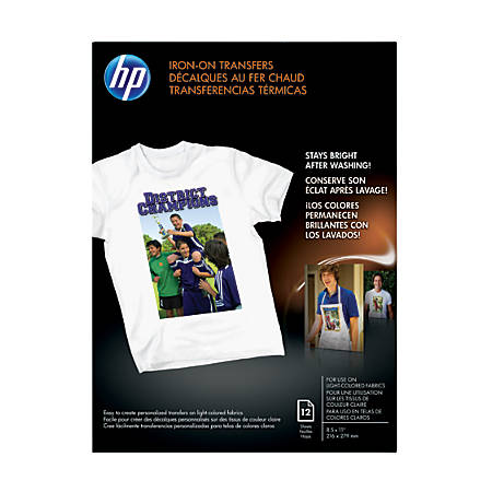 10c5b0068 HP Iron On T Shirt Transfers 8 12 x 11 Black Pack Of 10 Sheets ...