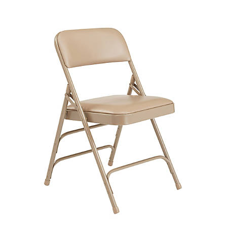 """National Public Seating Vinyl Upholstered Triple Brace Folding Chairs, 29 3/4""""H x 18 3/4""""W x 20 3/4""""D, Beige, Pack Of 4"""