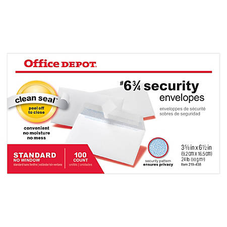 """Office Depot® Clean Seal™ Security Envelopes, #6 3/4 (3-5/8"""" x 6-1/2""""), White, Box Of 100 Envelopes"""