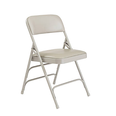"National Public Seating Vinyl Upholstered Triple Brace Folding Chairs, 29 3/4""H x 18 3/4""W x 20 3/4""D, Gray, Pack Of 4"