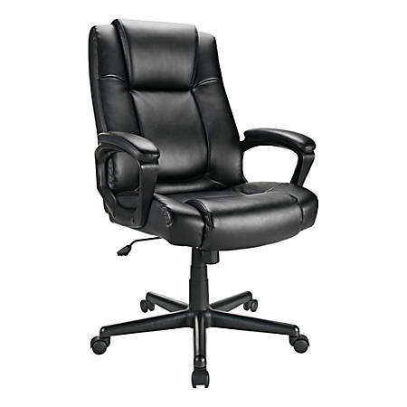 Realspace® Hurston Bonded Leather High-Back Chair, Black