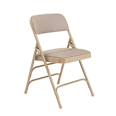 "National Public Seating Fabric Upholstered Triple Brace Folding Chairs, 29 3/4""H x 18 3/4""W x 20 3/4""D, Beige, Pack Of 4"