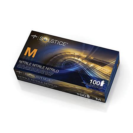 Solstice® Powder-Free Nitrile Exam Gloves, Medium, Dark Blue, 100 Gloves Per Box, Case Of 10 Boxes