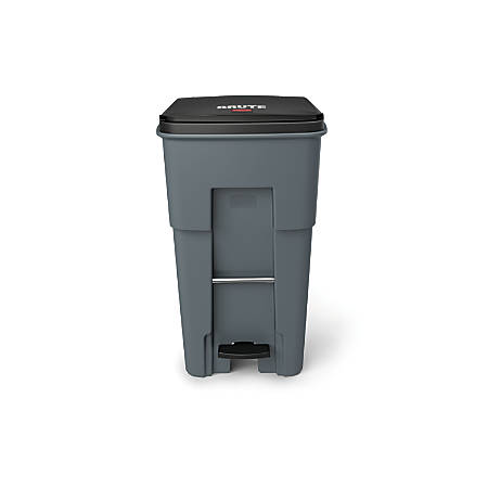 Rubbermaid® Commercial BRUTE® Rectangular Polyethylene Rollout Bin, Step-On, 65 Gallons, Gray