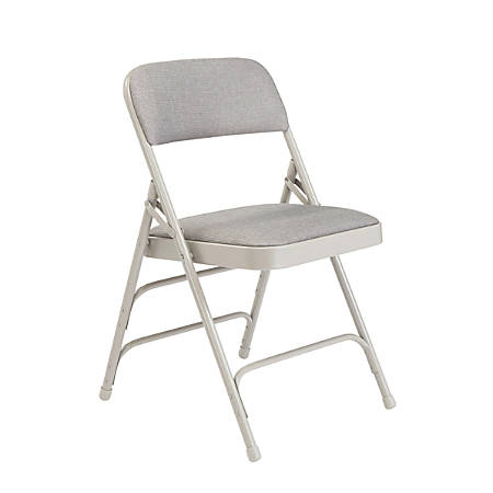 National Public Seating Fabric Upholstered Triple Brace Folding Chairs, Gray, Pack Of 40
