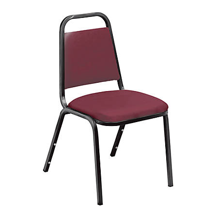 """National Public Seating Standard Vinyl Padded Stack Chair, 33""""H x 16""""W x 15 3/4""""D, Black Frame/Burgundy Pack Of 4"""