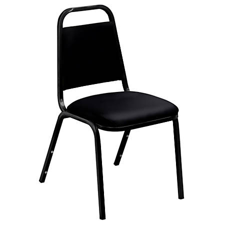 """National Public Seating Standard Vinyl Padded Stack Chair, 33""""H x 16""""W x 15 3/4""""D, Black, Pack Of 4"""