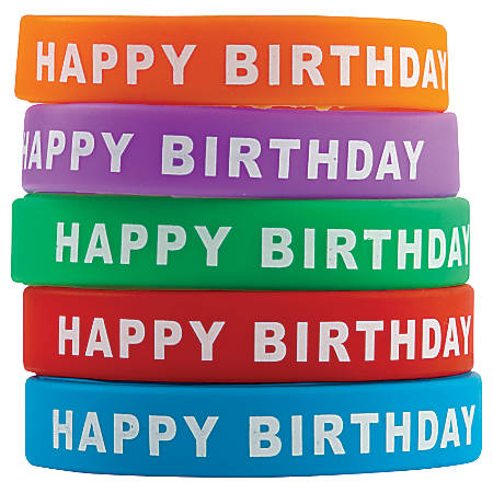"""Teacher Created Resources Wristbands, Happy Birthday, 7 1/4"""", Assorted Colors, Pre-K - Grade 12, Pack Of 10"""