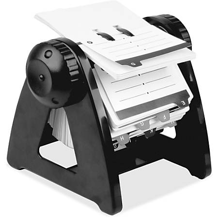 Lorell® Refillable Rotary Card File, Plastic, 250 Cards, Black