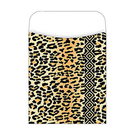 "Barker Creek Peel & Stick Library Pockets, 3 1/2"" x 5 1/8"", Leopard, Pack Of 30"