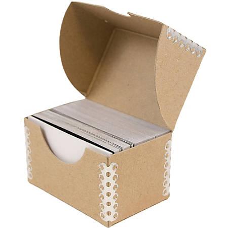"JAM Paper® Business Card Box, 2 1/2""H x 4""W x 3/4""D, Natural Brown"