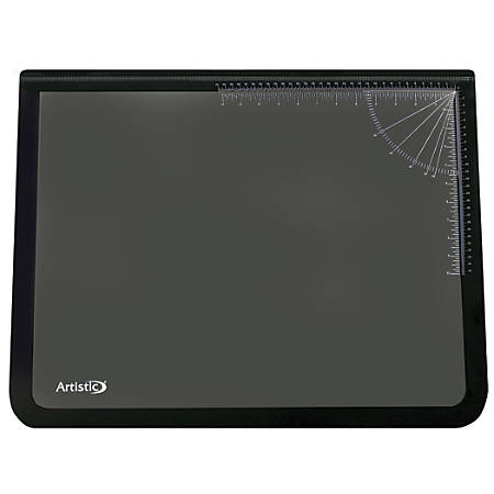 """Office Depot® Brand Clear Overlay Desk Pad, 19"""" x 24"""", 80% Recycled, Black"""