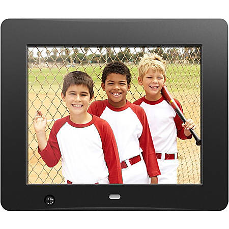 """Aluratek 8 inch Digital Photo Frame with Motion Sensor and 4GB Built-in Memory - 8"""" LCD Digital Frame - Black - 800 x 600 - Cable - 4:3 - Autostart Slideshow, Slideshow, Background Music, Clock, Calendar, Auto On/Off Timer, Motion Detection"""