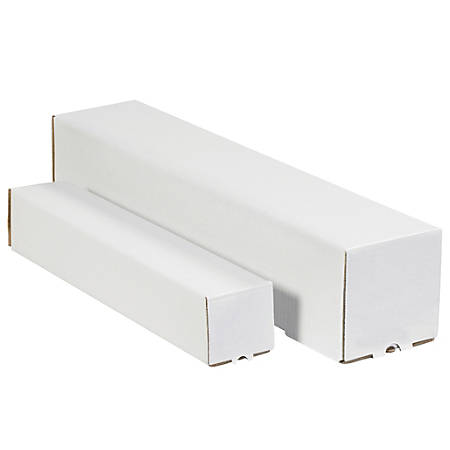 """Office Depot® Brand Square Mailing Tubes, 3""""H x 3""""W x 12""""D, White, Pack Of 25"""