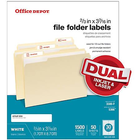 """Office Depot® Brand White Permanent Inkjet/Laser File Folder Labels, 505-O004-0013, 2/3"""" x 3 7/16"""", White, Pack Of 1,500"""