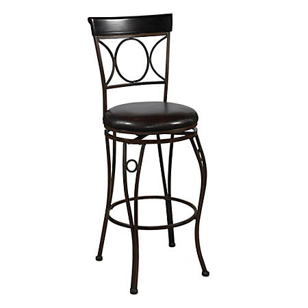 """Linon Home Decor Products Circles Back Counter Stool, 24"""", Brown/Black"""