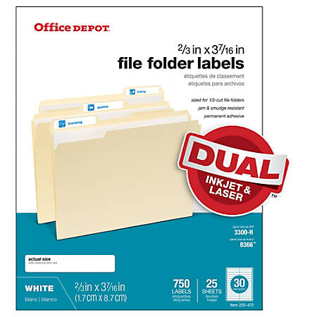 "Office Depot® Permanent Inkjet/Laser File Folder Labels, 505-O004-0011, 2/3"" x 3 7/16"", White, Pack Of 750"