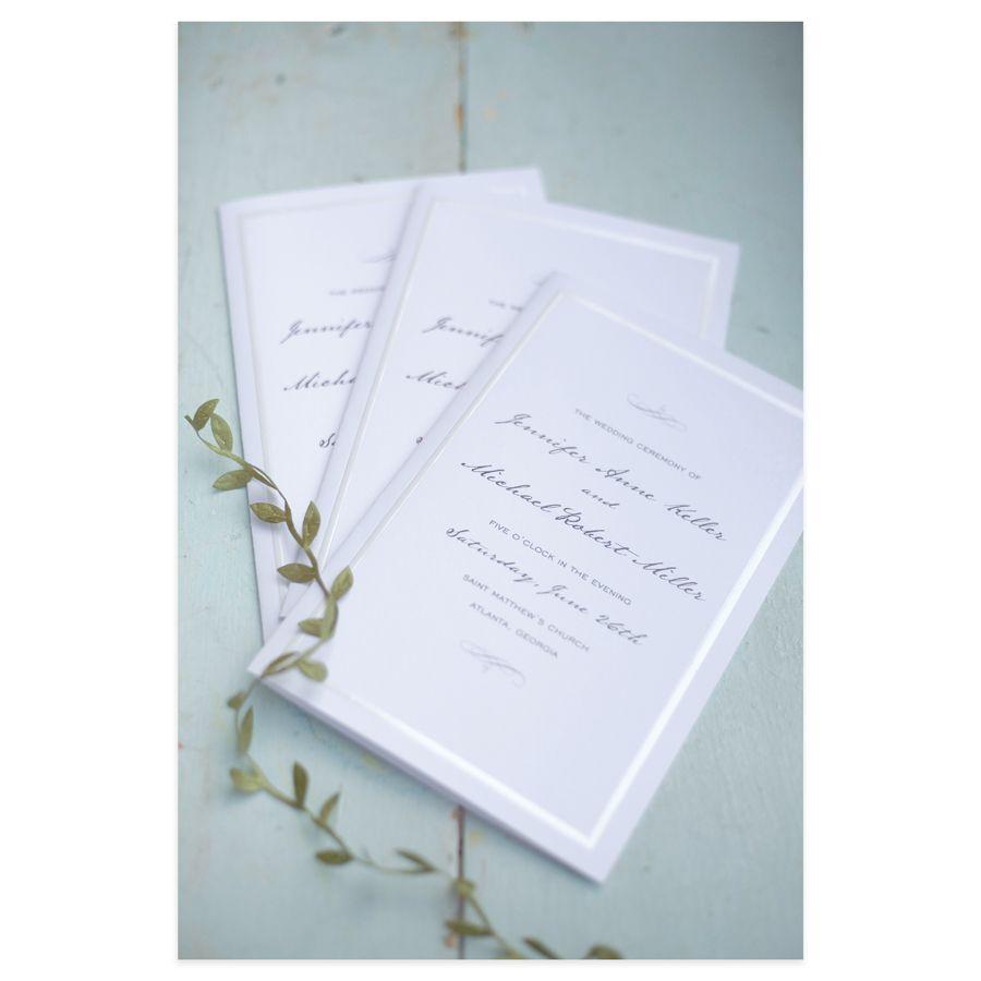 Gartner Studios Wedding Programs Half Fold 8 12 x 11 Pearl White