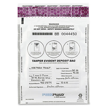 "MMF White FreezFraud Deposit Bags - 9"" Width x 12"" Length - White - Polyethylene - 100/Box - Currency"