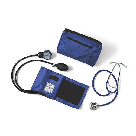 Medline Compli-Mates Dual-Head Aneroid Sphygmomanometer Combination Kit, Adult, Royal Blue