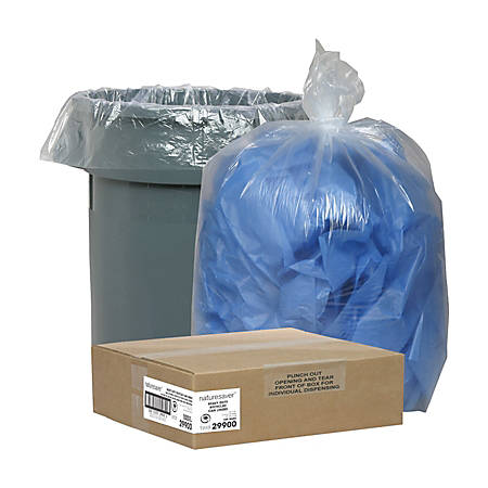 Nature Saver® Recycled Trash Bags, 33 Gallon, Box Of 100