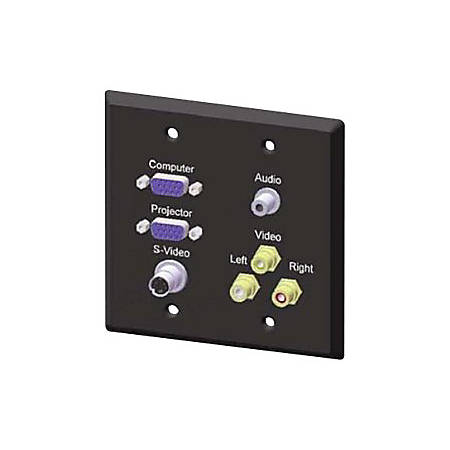 Bretford TCDPT Audio/Video Faceplate - HD-15 VGA, S-Video, 3.5mm Audio, RCA Composite Video Out, RCA Stereo Audio Line Out